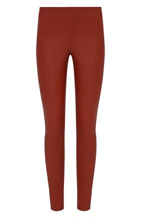 Женские кожаные брюки HELMUT LANG коричневого цвета, арт. G06HW240   Фото 1