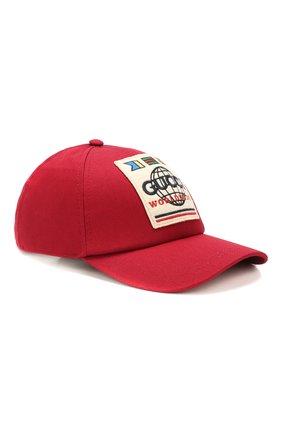 Мужской хлопковая бейсболка GUCCI красного цвета, арт. 599226/4HI16 | Фото 1