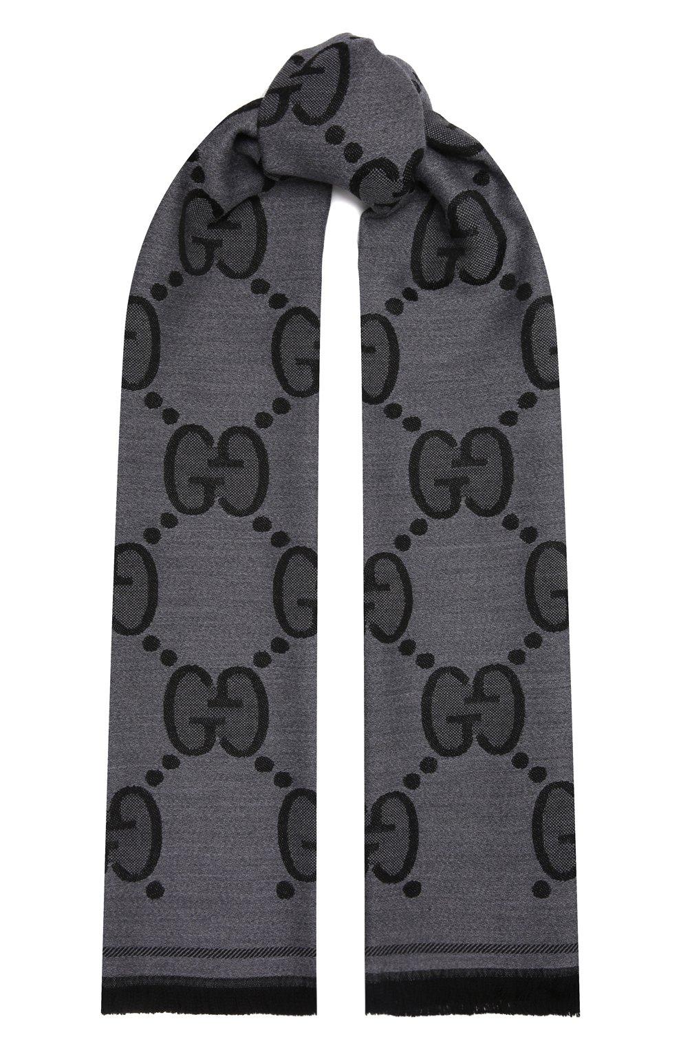 Мужской шерстяной шарф GUCCI серого цвета, арт. 598189/4G200 | Фото 1