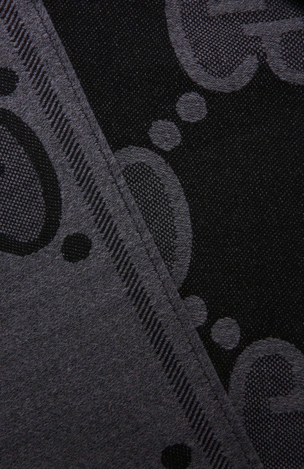 Мужской шерстяной шарф GUCCI серого цвета, арт. 598189/4G200 | Фото 3