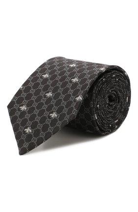 Мужской шелковый галстук GUCCI черного цвета, арт. 545078/4E002   Фото 1
