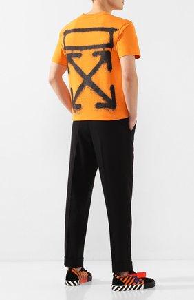 Мужская хлопковая футболка OFF-WHITE оранжевого цвета, арт. 0MAA027R201850151910   Фото 2