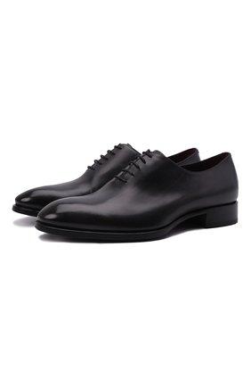 Мужские кожаные оксфорды BRIONI черного цвета, арт. QEF70L/P6757 | Фото 1