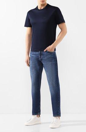Мужская хлопковая футболка BRIONI темно-синего цвета, арт. UJCA0L/PZ600 | Фото 2