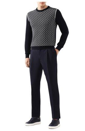 Мужской шерстяные брюки BRUNELLO CUCINELLI темно-синего цвета, арт. M032PE1740 | Фото 2