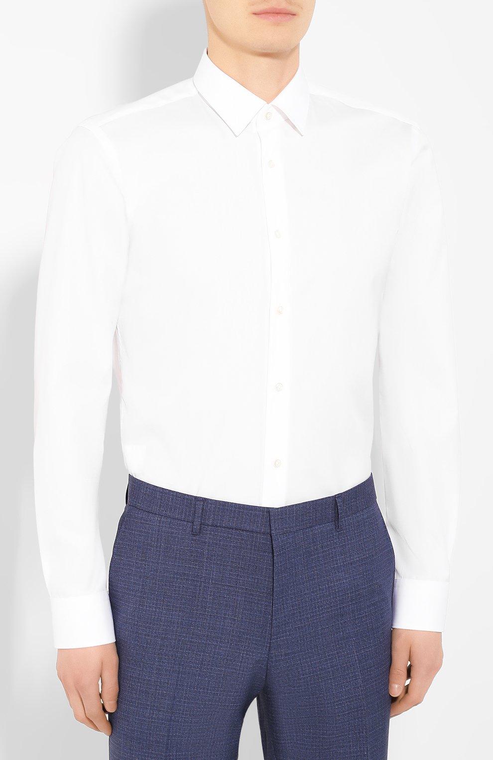 Мужская хлопковая сорочка BOSS белого цвета, арт. 50413751 | Фото 3