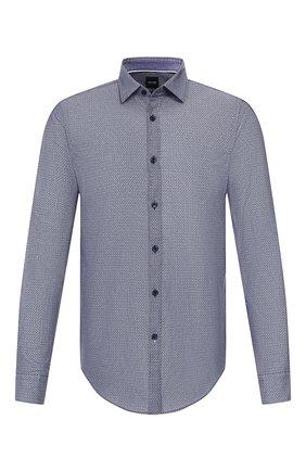 Мужская хлопковая сорочка BOSS темно-синего цвета, арт. 50421111 | Фото 1