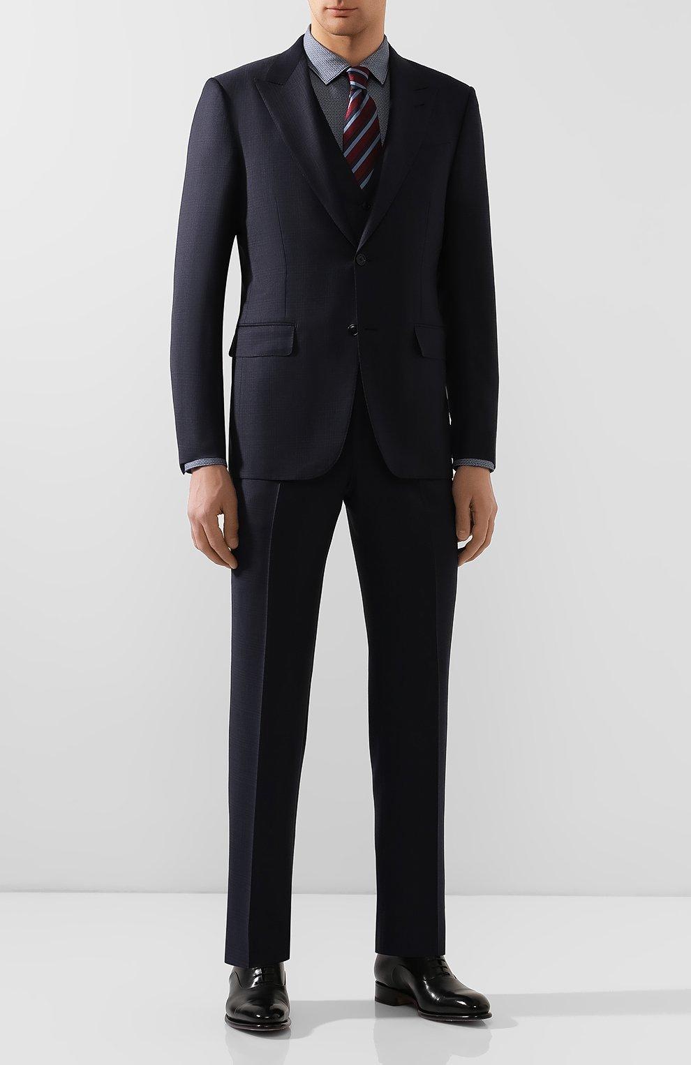 Мужская хлопковая сорочка BOSS темно-синего цвета, арт. 50421111 | Фото 2
