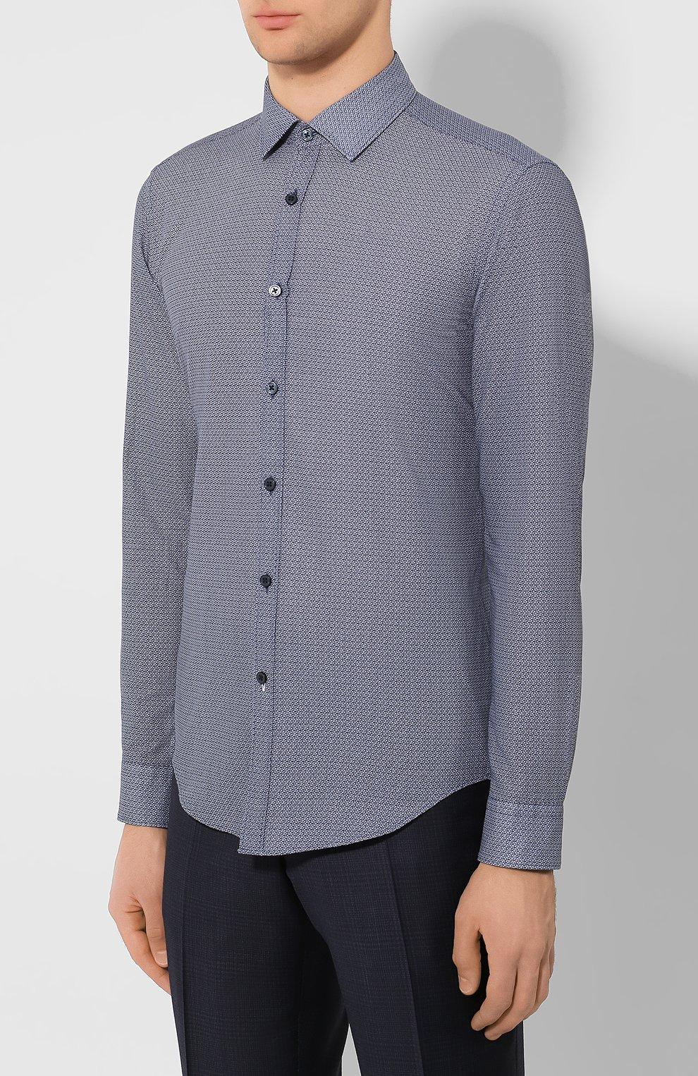 Мужская хлопковая сорочка BOSS темно-синего цвета, арт. 50421111 | Фото 3