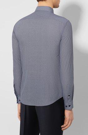 Мужская хлопковая сорочка BOSS темно-синего цвета, арт. 50421111 | Фото 4