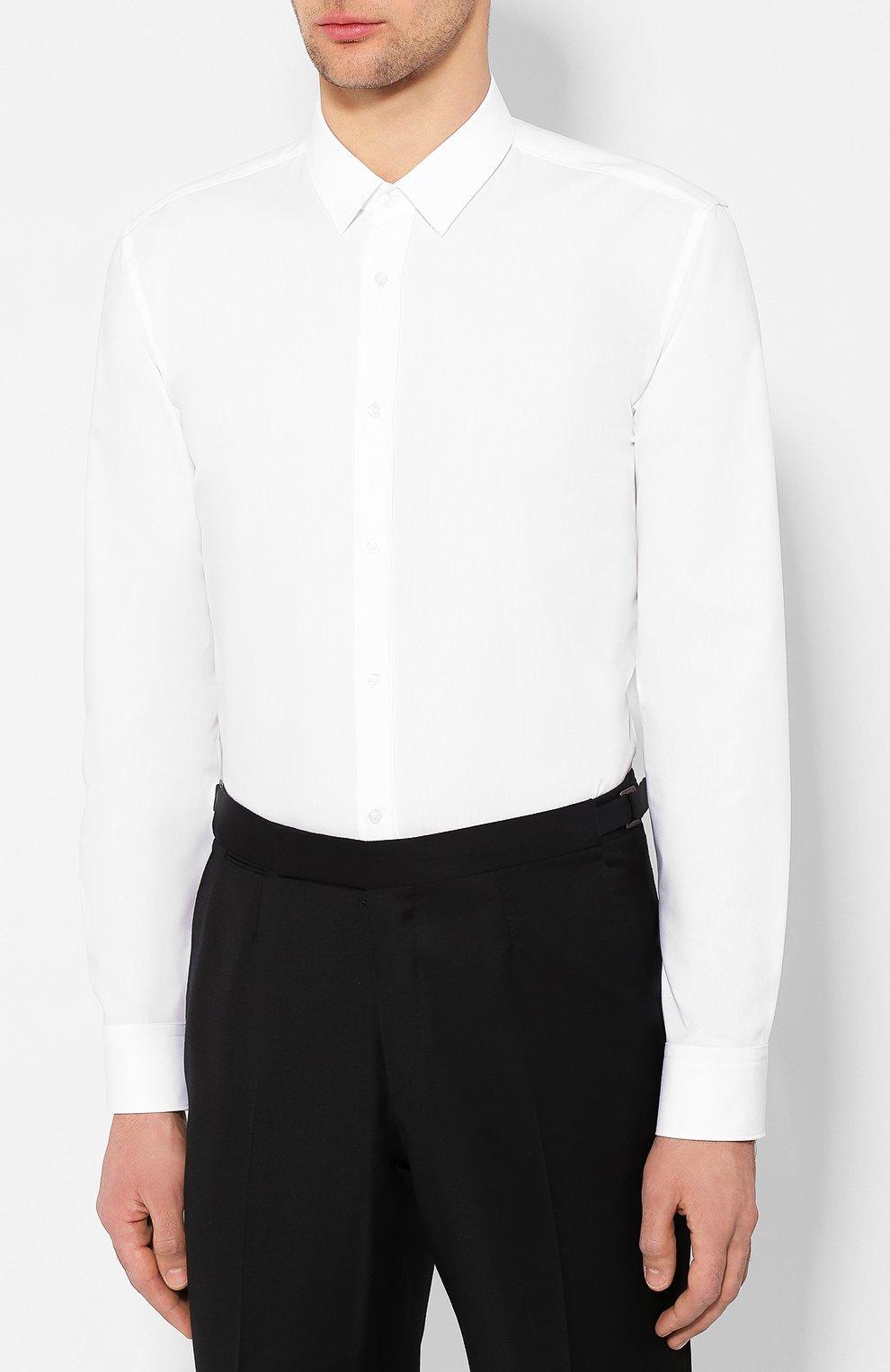 Мужская хлопковая сорочка HUGO белого цвета, арт. 50418107 | Фото 3
