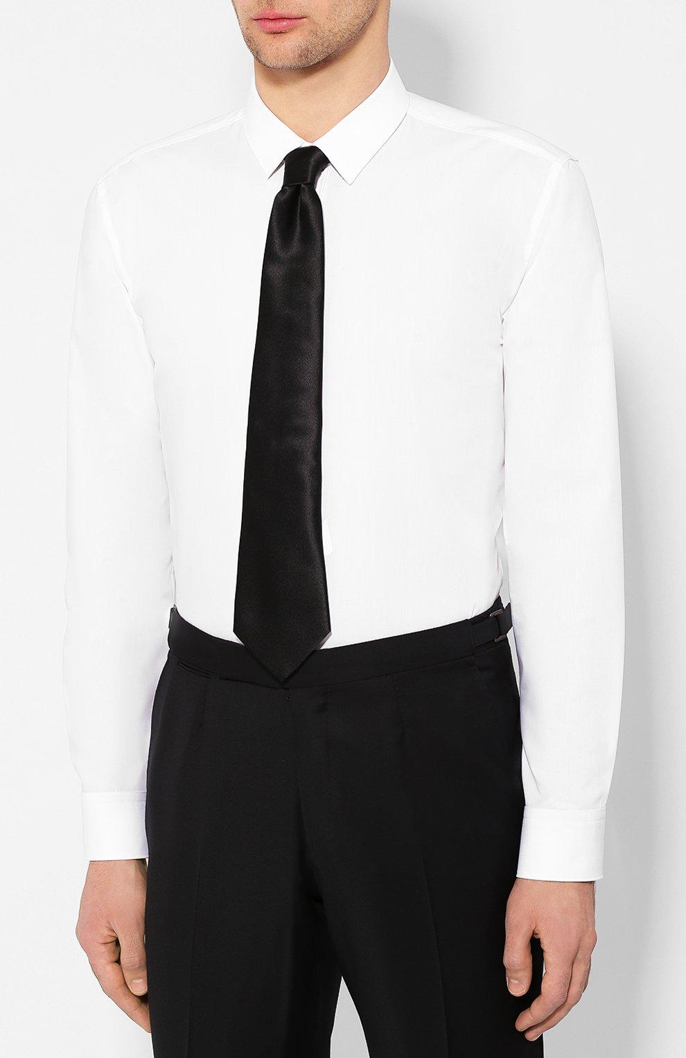 Мужская хлопковая сорочка HUGO белого цвета, арт. 50418107 | Фото 4