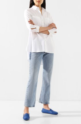 Женские кожаные мокасины gommini TOD'S синего цвета, арт. XXW00G000105J1 | Фото 2