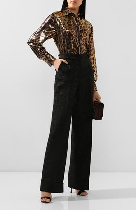 Женские брюки с отворотами DOLCE & GABBANA черного цвета, арт. FTBM0T/FJRDJ | Фото 2