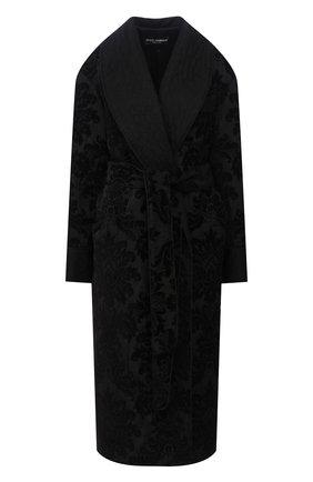 Женский халат с поясом DOLCE & GABBANA черного цвета, арт. F0Y65T/HJMHK | Фото 1