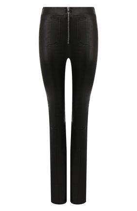 Женские кожаные брюки SPRWMN черного цвета, арт. FLR-025-L/PATCH PKT SPR FLARE 34 INSEAM | Фото 1