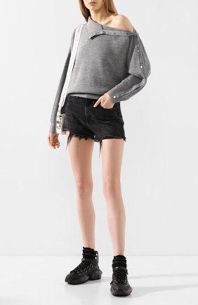 Женская шерстяной свитер ALEXANDERWANG.T серого цвета, арт. 4KC1201053 | Фото 2