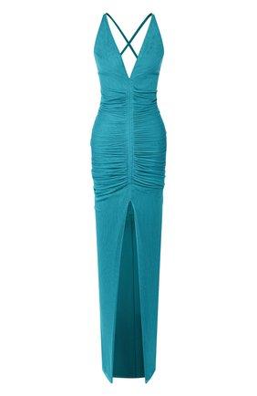 Женское шелковое платье TOM FORD синего цвета, арт. AB2780-FAX401 | Фото 1 (Материал подклада: Шелк; Материал внешний: Шелк; Рукава: Без рукавов; Длина Ж (юбки, платья, шорты): Макси; Случай: Вечерний)