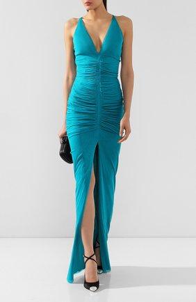 Женское шелковое платье TOM FORD синего цвета, арт. AB2780-FAX401 | Фото 2 (Материал подклада: Шелк; Материал внешний: Шелк; Рукава: Без рукавов; Длина Ж (юбки, платья, шорты): Макси; Случай: Вечерний)
