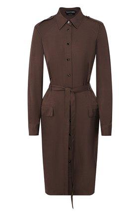 Женское платье с поясом TOM FORD хаки цвета, арт. AB2787-FAX180 | Фото 1
