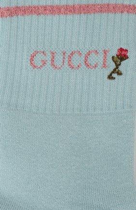 Женские хлопковые носки GUCCI розового цвета, арт. 579316/3GD70 | Фото 2