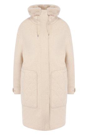 Женское пальто с меховой отделкой LORO PIANA светло-бежевого цвета, арт. FAI8736 | Фото 1