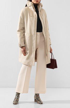 Женское пальто с меховой отделкой LORO PIANA светло-бежевого цвета, арт. FAI8736 | Фото 2