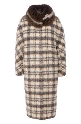 Женское шерстяное пальто с меховой подкладкой COLOR TEMPERATURE серого цвета, арт. fw18ct14 | Фото 1
