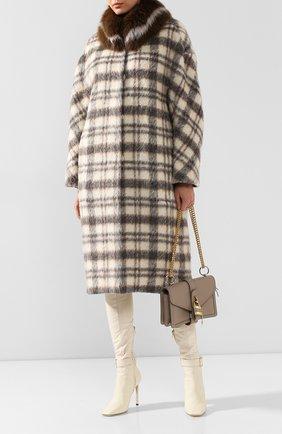 Женское шерстяное пальто с меховой подкладкой COLOR TEMPERATURE серого цвета, арт. fw18ct14 | Фото 2
