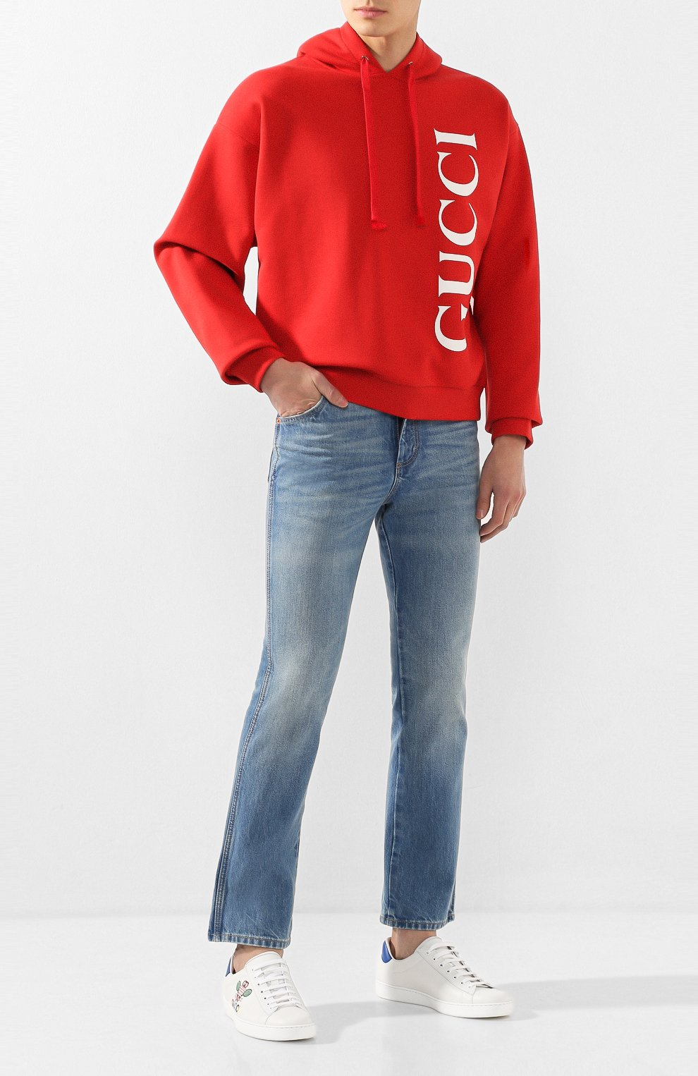 Мужские кожаные кеды ace GUCCI белого цвета, арт. 603696/AY070 | Фото 2