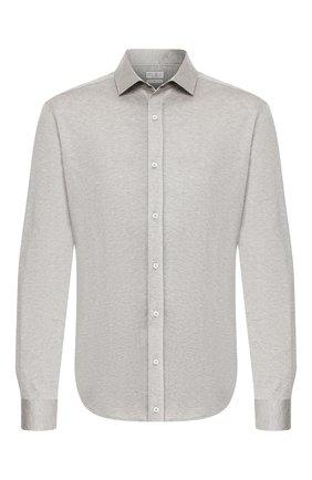 Мужская хлопковая рубашка BRUNELLO CUCINELLI серого цвета, арт. M0T656699 | Фото 1