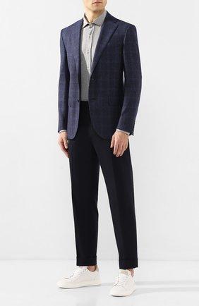 Мужская хлопковая рубашка BRUNELLO CUCINELLI серого цвета, арт. M0T656699 | Фото 2