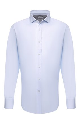 Мужская хлопковая сорочка BRUNELLO CUCINELLI голубого цвета, арт. M0UC40028 | Фото 1