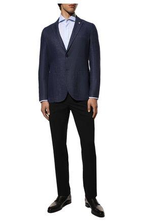 Мужская хлопковая сорочка BRUNELLO CUCINELLI голубого цвета, арт. M0UC40028 | Фото 2