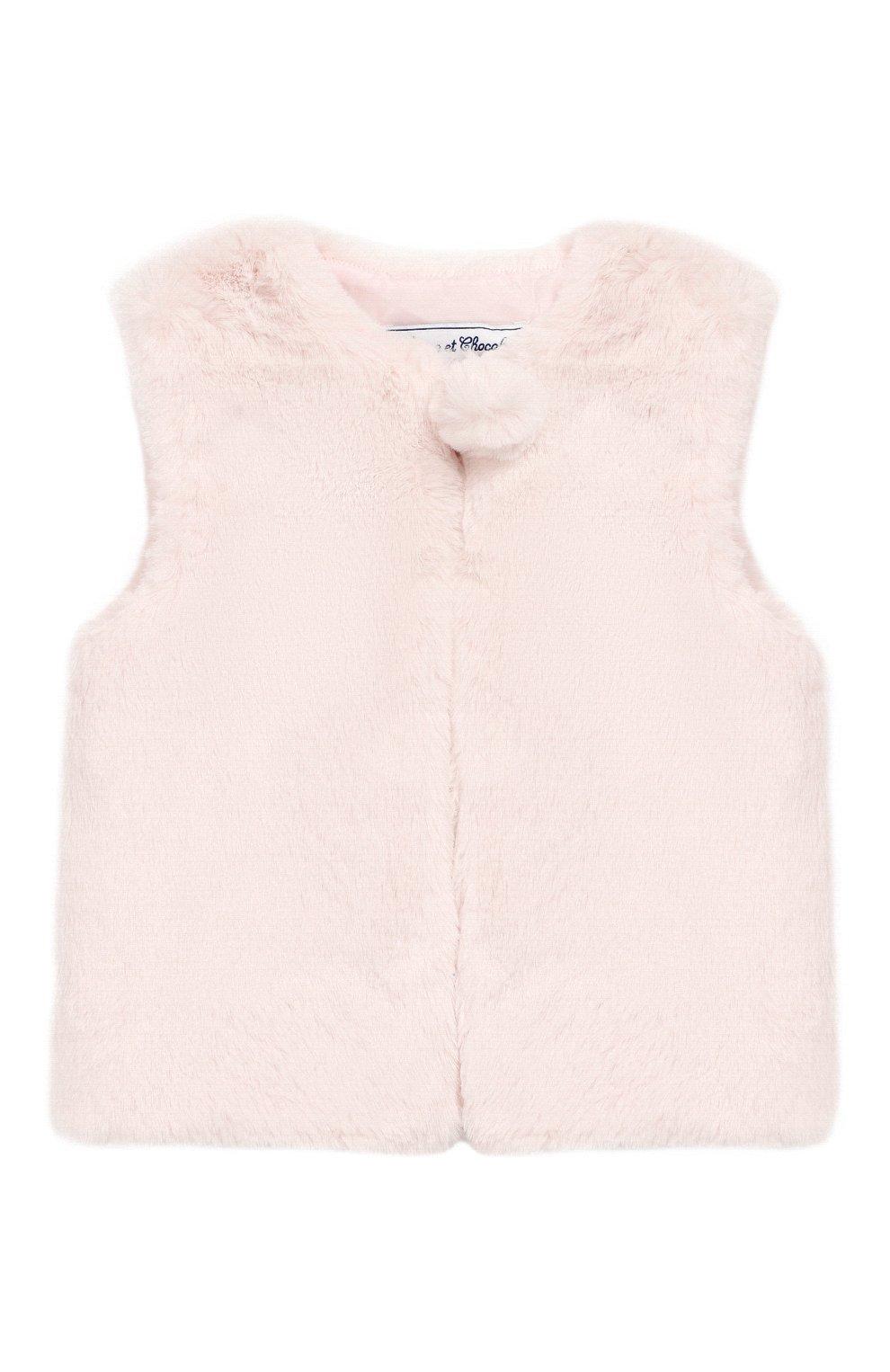 Детский жилет TARTINE ET CHOCOLAT светло-розового цвета, арт. TP16001/4A-5A   Фото 1 (Рукава: Короткие; Материал внешний: Синтетический материал; Материал подклада: Синтетический материал)