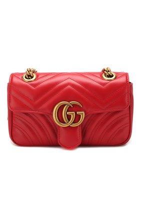 Женская сумка gg marmont mini GUCCI красного цвета, арт. 446744/DTDIT | Фото 1 (Материал: Натуральная кожа; Сумки-технические: Сумки через плечо; Размер: mini; Ремень/цепочка: На ремешке)