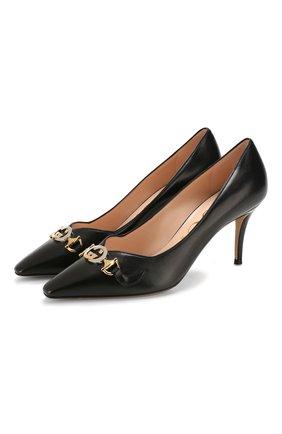 Женская кожаные туфли gucci zumi GUCCI черного цвета, арт. 596860/C9D00 | Фото 1