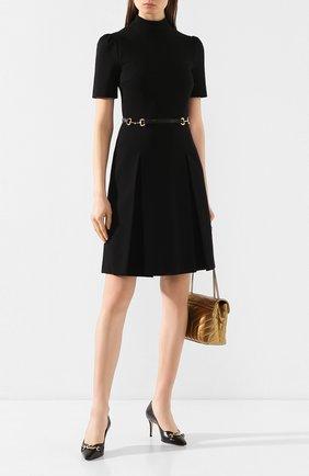 Женская кожаные туфли gucci zumi GUCCI черного цвета, арт. 596860/C9D00 | Фото 2
