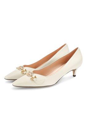 Женская кожаные туфли gucci zumi GUCCI белого цвета, арт. 596859/C9D00 | Фото 1