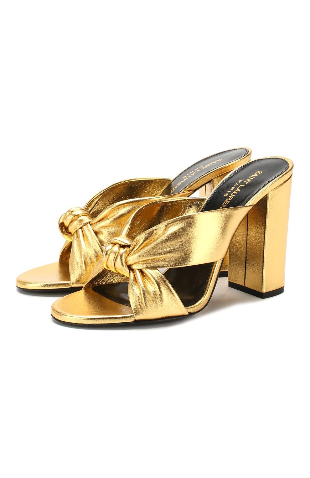 Женские кожаные мюли loulou SAINT LAURENT золотого цвета, арт. 608536/0XQ00   Фото 1
