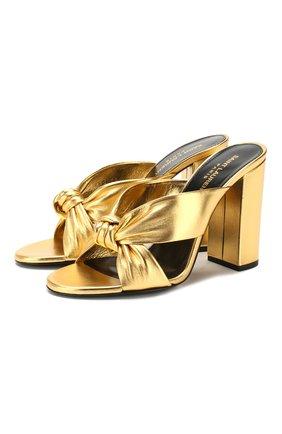 Женские кожаные мюли loulou SAINT LAURENT золотого цвета, арт. 608536/0XQ00 | Фото 1