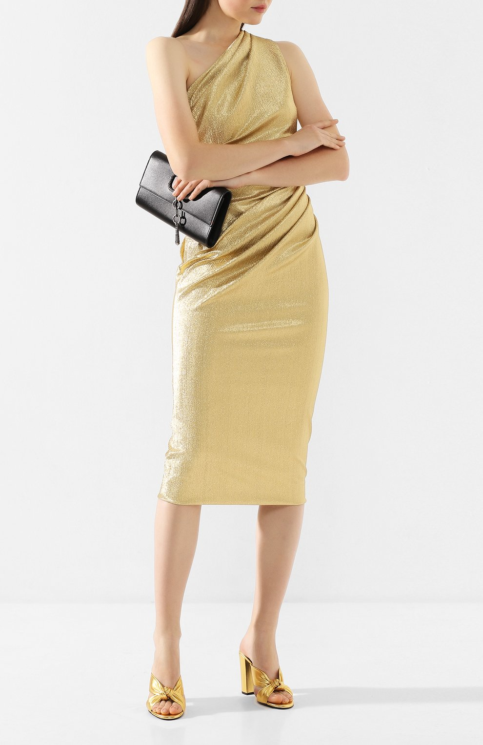Женские кожаные мюли loulou SAINT LAURENT золотого цвета, арт. 608536/0XQ00   Фото 2