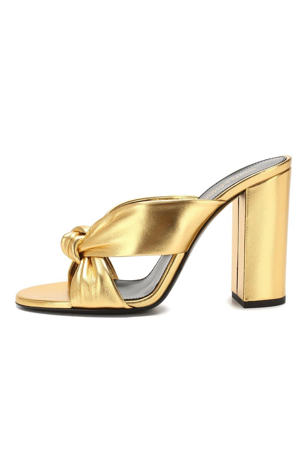 Женские кожаные мюли loulou SAINT LAURENT золотого цвета, арт. 608536/0XQ00   Фото 3