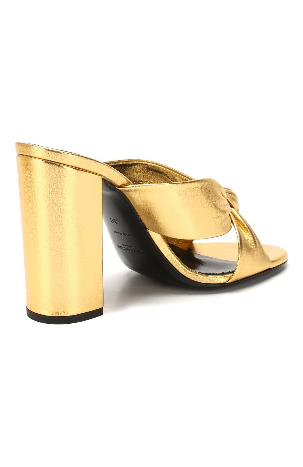 Женские кожаные мюли loulou SAINT LAURENT золотого цвета, арт. 608536/0XQ00   Фото 4