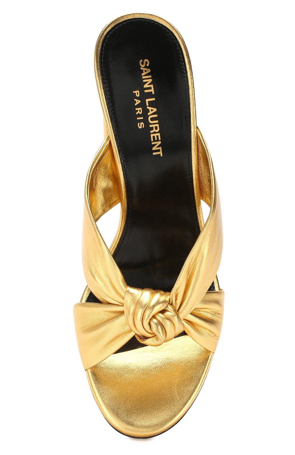 Женские кожаные мюли loulou SAINT LAURENT золотого цвета, арт. 608536/0XQ00   Фото 5