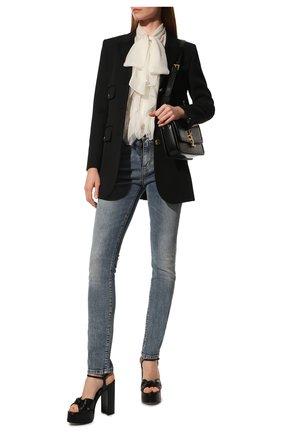 Женские кожаные босоножки bianca SAINT LAURENT черного цвета, арт. 606713/1N800 | Фото 2