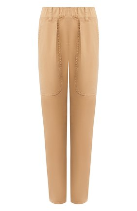 Женские хлопковые брюки BRUNELLO CUCINELLI бежевого цвета, арт. MA081P5509 | Фото 1