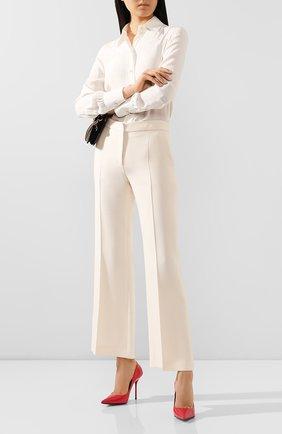 Женские брюки из смеси шерсти и шелка VALENTINO бежевого цвета, арт. TB3RB3L51CF | Фото 2
