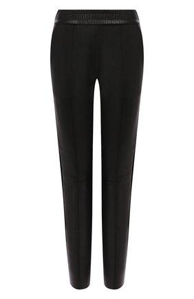 Женские кожаные брюки SPRWMN черного цвета, арт. J0G-011-L/SLIM J0GGER SATEEN TUX | Фото 1