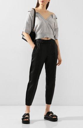 Женские кожаные брюки SPRWMN черного цвета, арт. J0G-011-L/SLIM J0GGER SATEEN TUX | Фото 2